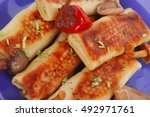 russian food   meat wrapped in... | Shutterstock . vector #492971761