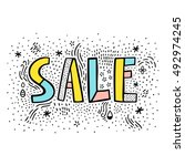sale doodle sign on white... | Shutterstock .eps vector #492974245