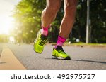 marathon running  with morning... | Shutterstock . vector #492975727