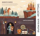medieval knight horizontal... | Shutterstock .eps vector #492977341