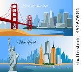 usa horizontal flat banners... | Shutterstock .eps vector #492979045