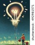 kid watering a big light bulb... | Shutterstock . vector #492981571