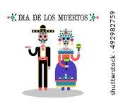 day of the dead  dia de los... | Shutterstock .eps vector #492982759