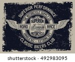 vintage motorcycle  classic... | Shutterstock .eps vector #492983095