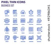 thin line flat icons pack for... | Shutterstock .eps vector #492986341