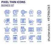 thin line flat icons pack for... | Shutterstock .eps vector #492986365