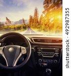 fantastic asphalt road in the...   Shutterstock . vector #492987355