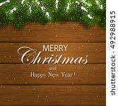 inscription merry christmas and ... | Shutterstock . vector #492988915