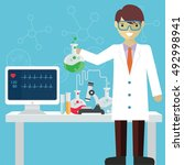scientist in science education... | Shutterstock .eps vector #492998941