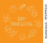 hand drawn happy thanksgiving... | Shutterstock .eps vector #492999214