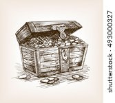 treasure chest sketch style... | Shutterstock .eps vector #493000327