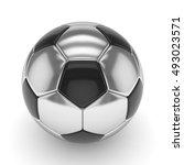 silver soccer ball on white... | Shutterstock . vector #493023571
