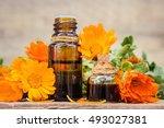 small bottle of calendula oil ...   Shutterstock . vector #493027381