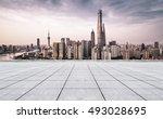 empty floor and modern city... | Shutterstock . vector #493028695