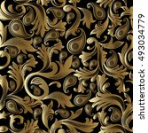 baroque damask luxury black... | Shutterstock .eps vector #493034779