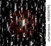 baroque damask dark vector... | Shutterstock .eps vector #493034791