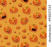 halloween background with... | Shutterstock .eps vector #493037215