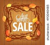 autumn sale lettering. bright... | Shutterstock . vector #493040485