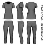 women 3 4 long black tights and ... | Shutterstock .eps vector #493041961