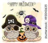 Halloween Card With Two Owls...