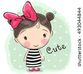 Cute Cartoon Girl With A Bow I...