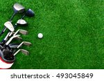 golf ball and golf club in bag... | Shutterstock . vector #493045849