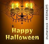 happy halloween card with... | Shutterstock .eps vector #493046395