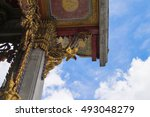 thai art on roof at thai temple ...   Shutterstock . vector #493048279