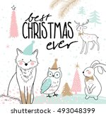 hand drawn christmas card with... | Shutterstock .eps vector #493048399