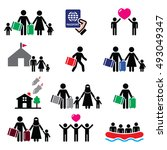 refugee  immigrants  families...   Shutterstock .eps vector #493049347