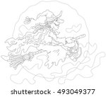 halloween witch flying on a...   Shutterstock .eps vector #493049377