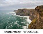 the cliffs of moher in ireland  ... | Shutterstock . vector #493050631