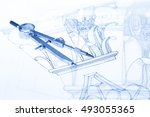 drawings of architectural... | Shutterstock . vector #493055365