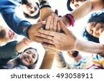 college students teamwork... | Shutterstock . vector #493058911