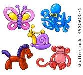 set of balloon animals   horse  ... | Shutterstock .eps vector #493060075