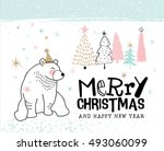 hand drawn christmas card with... | Shutterstock .eps vector #493060099