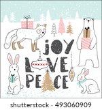 hand drawn christmas card with... | Shutterstock .eps vector #493060909