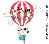 bunny flying in air balloon ... | Shutterstock .eps vector #493064185