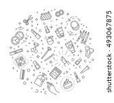 vector cosmetics line icons.... | Shutterstock .eps vector #493067875