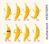 vector set isolated banana in... | Shutterstock .eps vector #493070095