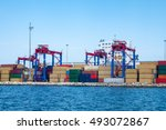 crane and container | Shutterstock . vector #493072867