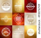 christmas card design set  ... | Shutterstock .eps vector #493076749