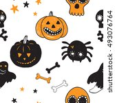 halloween seamless pattern with ... | Shutterstock .eps vector #493076764
