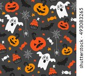 halloween seamless pattern with ... | Shutterstock .eps vector #493083265