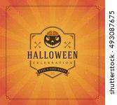 halloween typographic greeting... | Shutterstock .eps vector #493087675