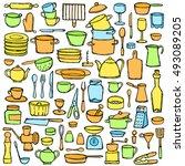 set hand drawn kitchen doodles. ... | Shutterstock .eps vector #493089205