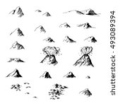 Old map ink mountains set. Black and white