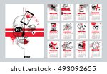 vector calendar set for 2017... | Shutterstock .eps vector #493092655