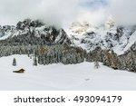 italian dolomites in winter... | Shutterstock . vector #493094179