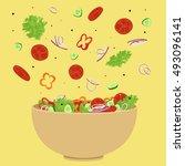 vegetable salad vector... | Shutterstock .eps vector #493096141